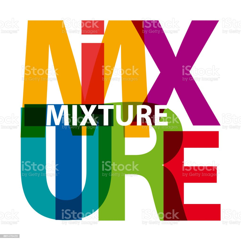 Vector mixture. Broken text vector art illustration