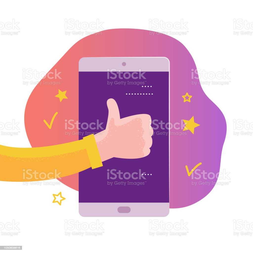 Vector Mobile App Concept Design With Online Review Theme Stock