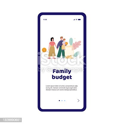 istock Vector mobile app for planning and management of finance family budget 1328890651
