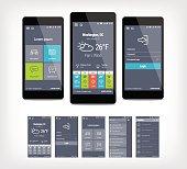 Vector mobile app ui set of modern design. Template for user interface aplication.