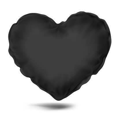 Vector. Mock Up. Black Pillow Heart