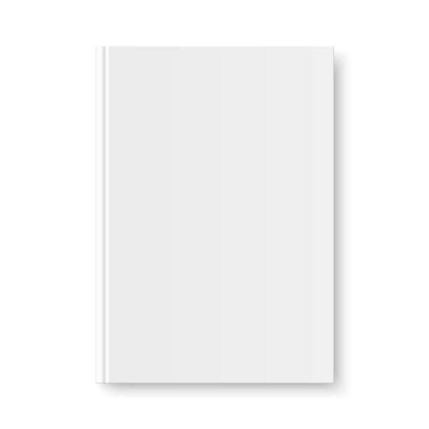 Vector mock up of book white blank cover Vector mock up of book white blank cover isolated. Closed vertical book, magazine or notebook mockup on white background. 3d illustration. hardcover book stock illustrations