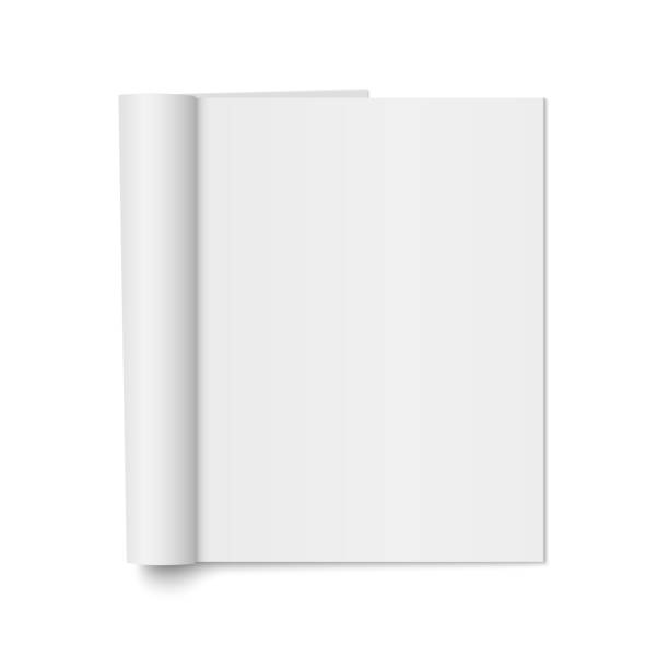 vektor-mock-up des realistischen magazin - buchseite stock-grafiken, -clipart, -cartoons und -symbole