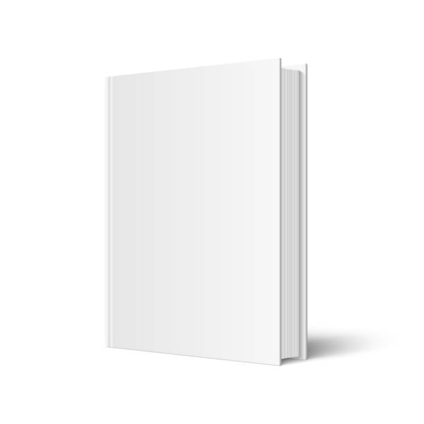 Vector mock up of standing book Vector mock up of standing book with white blank cover isolated. Closed vertical hardcover book, catalog or magazine mockup on white background. 3d illustration. Diminishing perspective. book clipart stock illustrations