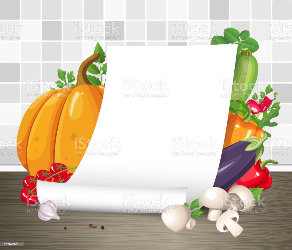 Mockup Vektor Papier Plakat Oder Pergament Schriftrolle Mit Gemüse ...