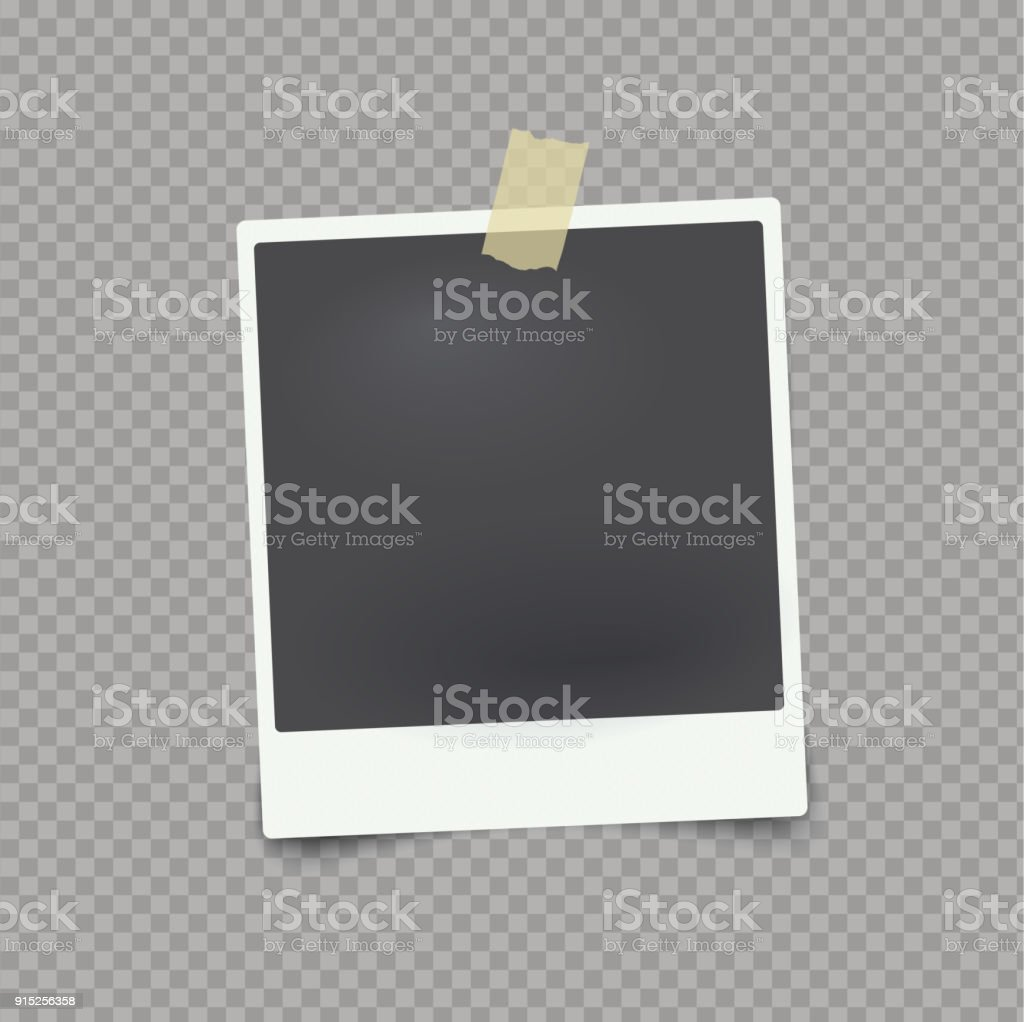 Vector mock up photo frame on transparent background with adhesive tape. vector art illustration