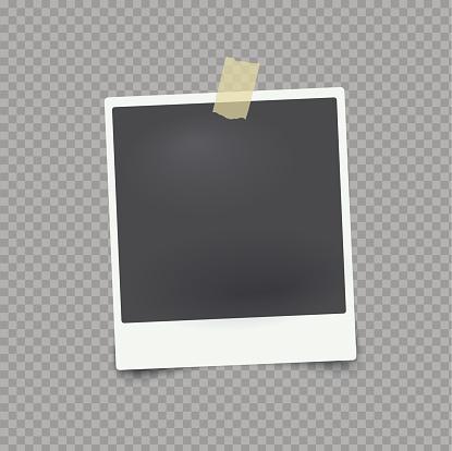 Vector Mock Up Fotolijstjes Op Transparante Achtergrond Met Plakband Stockvectorkunst en meer beelden van Abstract