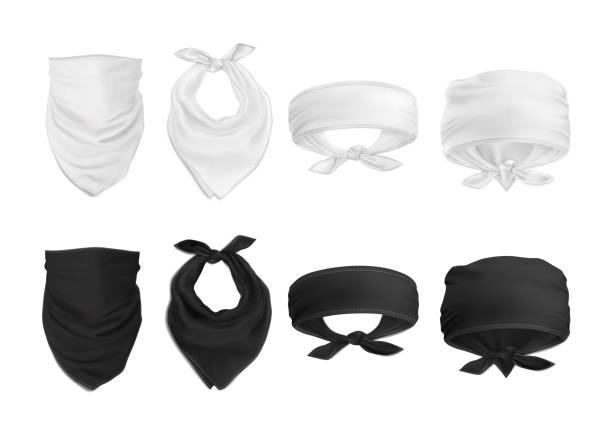 Vektor. Mock-Up. Set schwarz / weiß Bandana (Buff) – Vektorgrafik