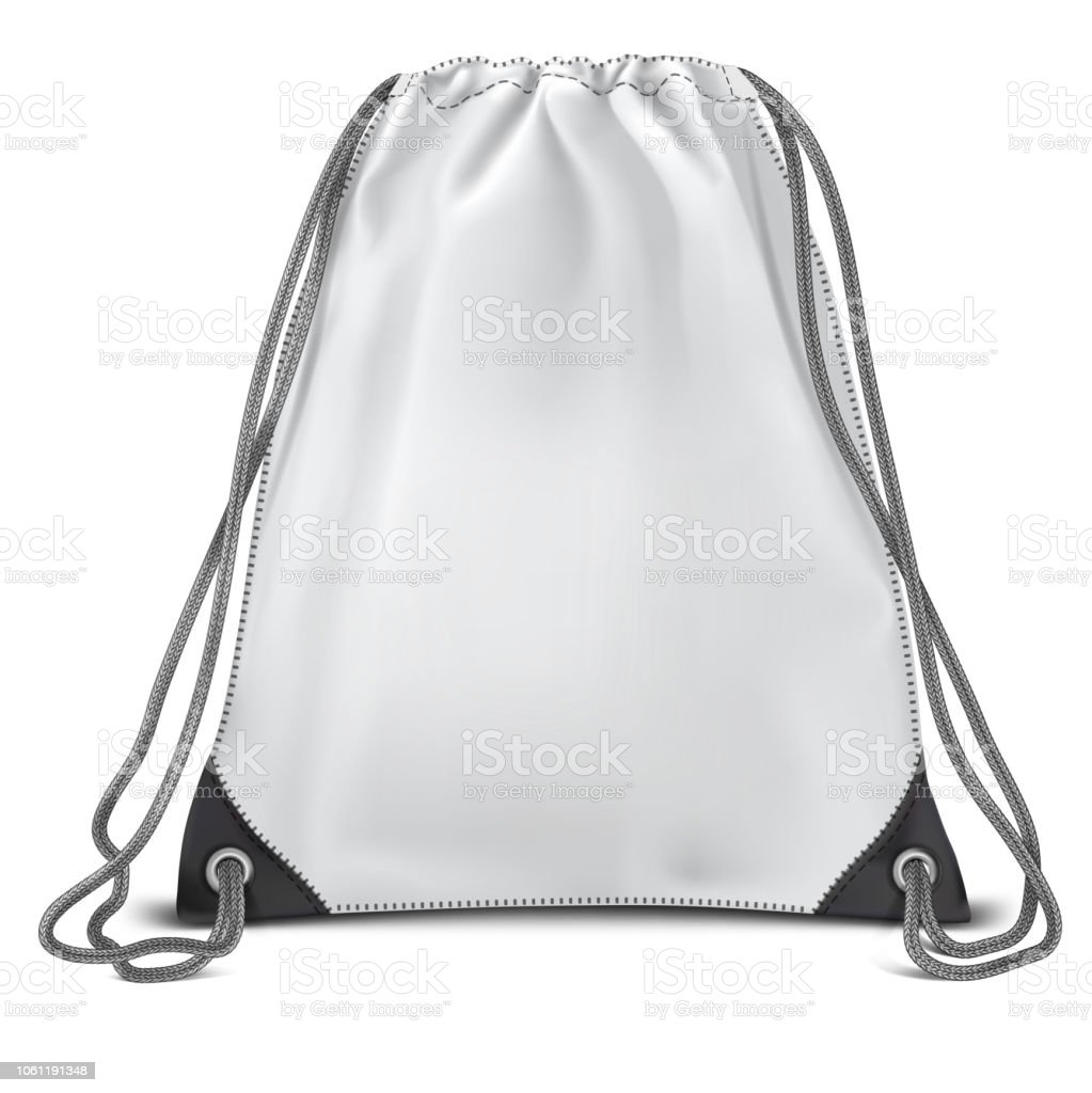 Vector. Mock Up. White Backpack bag Cylinder vector art illustration