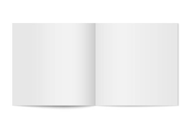 Vector mockup of booklet cover isolated. Vector mockup of booklet cover isolated. Opened square magazine, brochure or notebook template on white background. 3d illustration for your design square composition stock illustrations