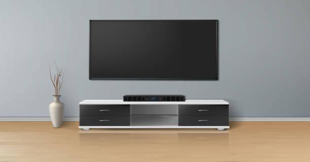 ilustrações de stock, clip art, desenhos animados e ícones de vector mockup of empty room, minimalistic interior - living room background