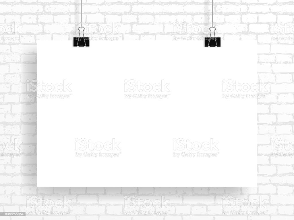 Vector mockup of poster(4:3), fastened with two black paper clips - ilustração de arte vetorial