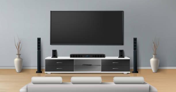 ilustrações de stock, clip art, desenhos animados e ícones de vector mockup of room with home theater system - living room background