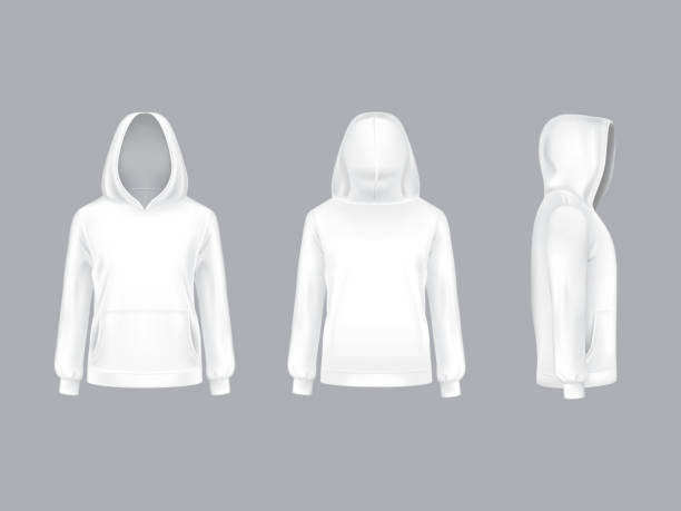 Vector mockup with realistic white hoodie Vector 3d realistic white hoodie with long sleeves and pockets, casual unisex model, sportswear, sweatshirt with hood isolated on background. Mockup for clothes design, front, rear and side view hot pockets stock illustrations