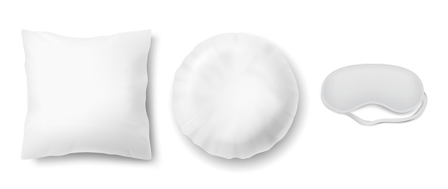 Vector mockup with two white pillows and blindfold