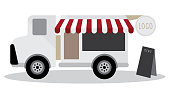 vector model of food truck and have blackboard for menu