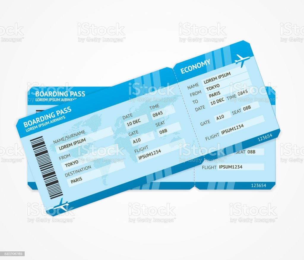 Vector Modern Airline boarding pass tickets vector art illustration