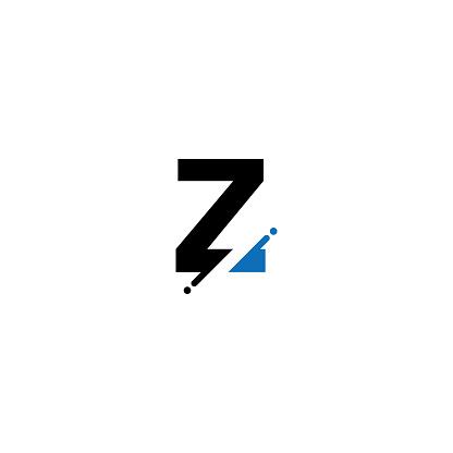 Vector modern alphabet letter Z, Glitch style font design template