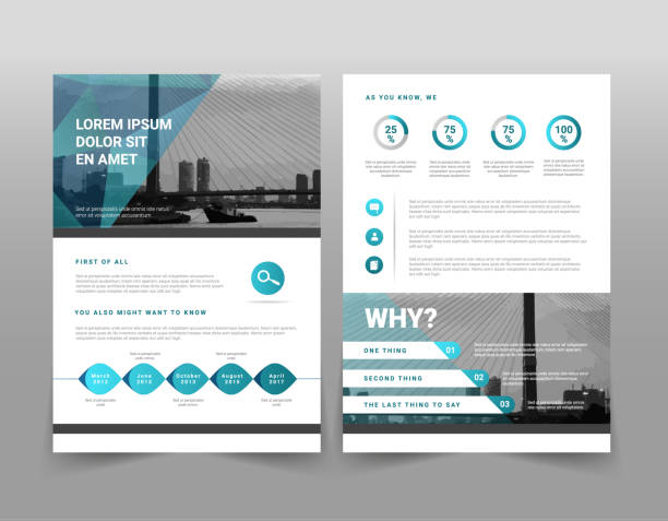 vector modern blue geometric business brochure or leaflet infographic template - flyers templates stock illustrations