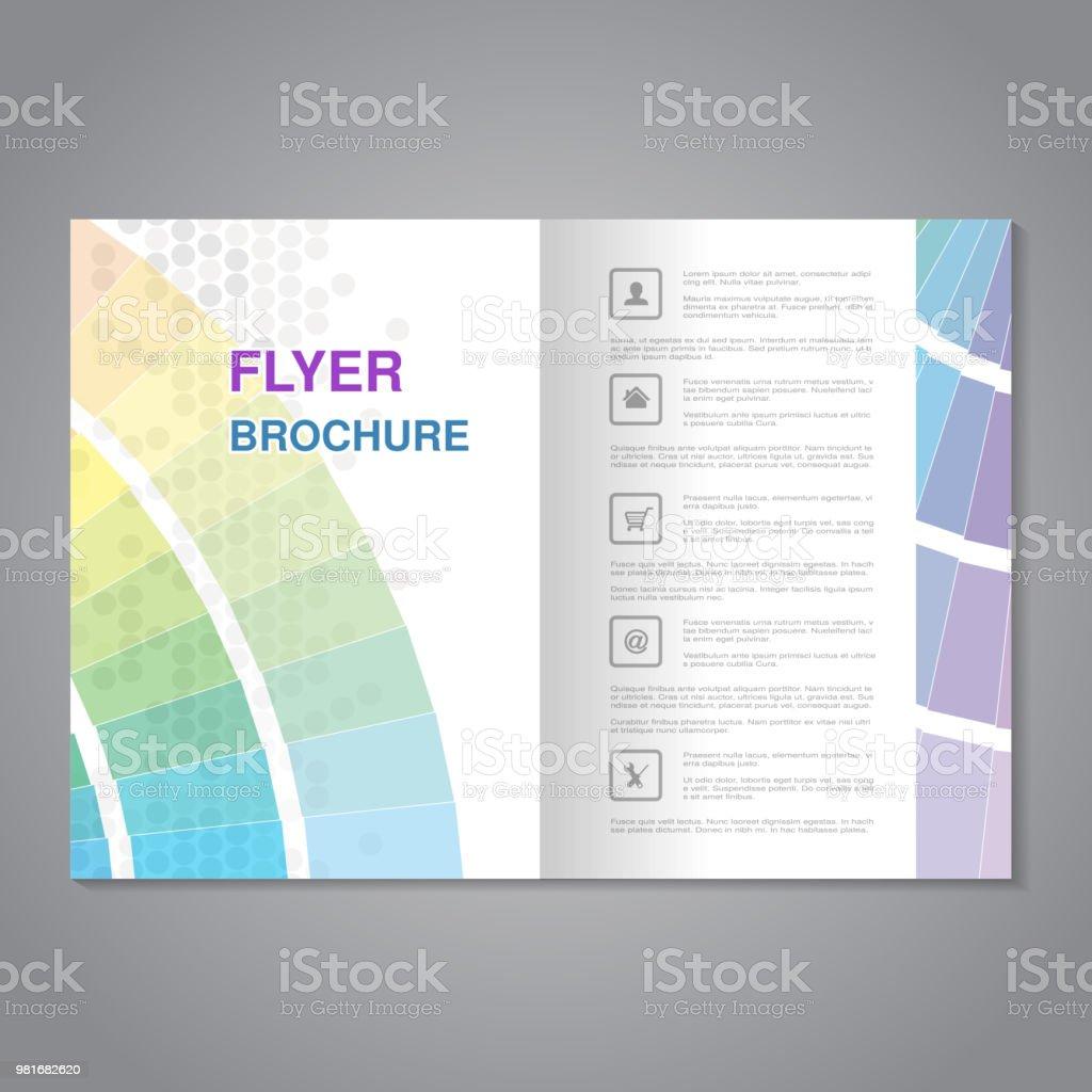 vecteur moderne brochure flyer abstraite avec simple pointill u00e9 et carnet de couleurs proportions