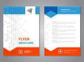 Vector modern brochure, abstract flyer with simple dotted design. Layout template with arrows. Aspect Ratio for A4 size. Poster of blue, orange, grey and white color. Magazine cover.- illustration
