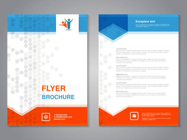 vector modern brochure, abstract flyer with simple dotted design. layout template with arrows. aspect ratio for a4 size. poster of blue, orange, grey and white color. magazine cover. - flyers templates stock illustrations