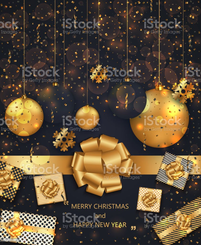 vector modern christmas or 2018 happy new year winter holiday invitation card royalty free stock