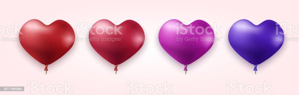 Vector modern colorful heart balloons set vector art illustration