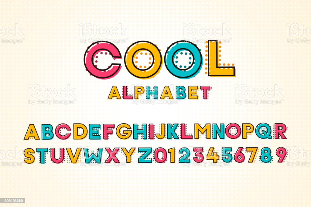 Vector modern cool pop font and alphabet with halftone effect vector design Abstract stock vector