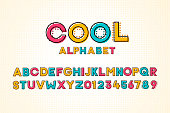 Vector modern cool pop font and alphabet with halftone effect