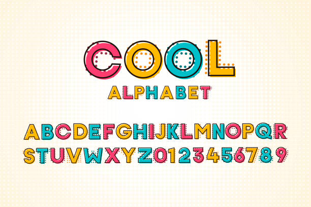 Vector modern cool pop font and alphabet with halftone effect vector art illustration