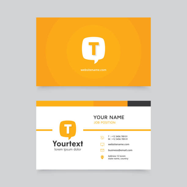 vector modern creative and clean business card with communication symbol - business cards templates stock illustrations