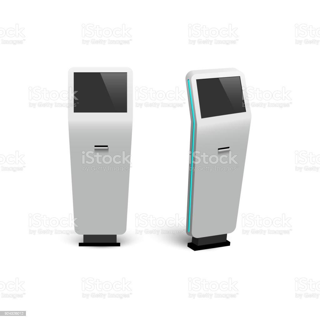 Vector modern digital interactive information kiosks isolated on white background. vector art illustration