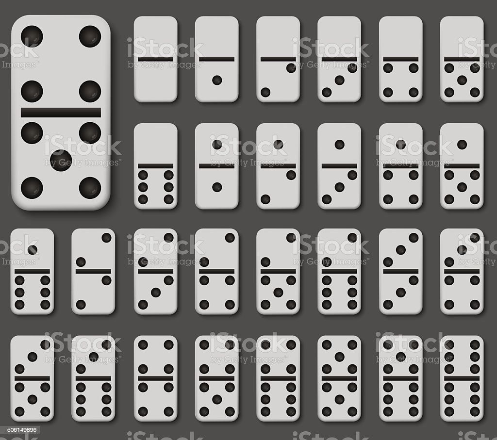 Vector modern domino set on gray background vector art illustration