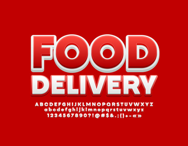 Vector modern emblem Food Delivery with Red and White Alphabet Letters, Numbers and Symbols Bright stylish design 3D Font three dimensional stock illustrations