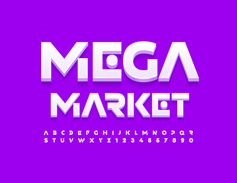 Vector modern emblem Mega Market. Cosmic style Alphabet Letters and Numbers