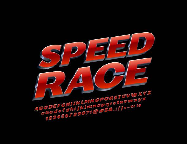 stockillustraties, clipart, cartoons en iconen met vector moderne embleem snelheid race met rood en zilver alfabet. metallic 3d lettertype - kampioenschap