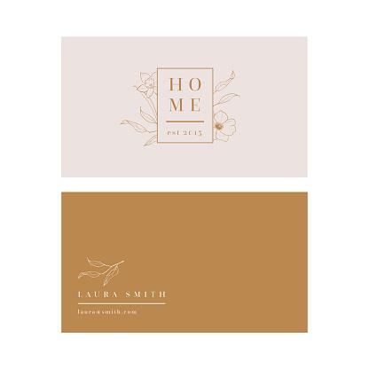 Vector modern feminine business card template