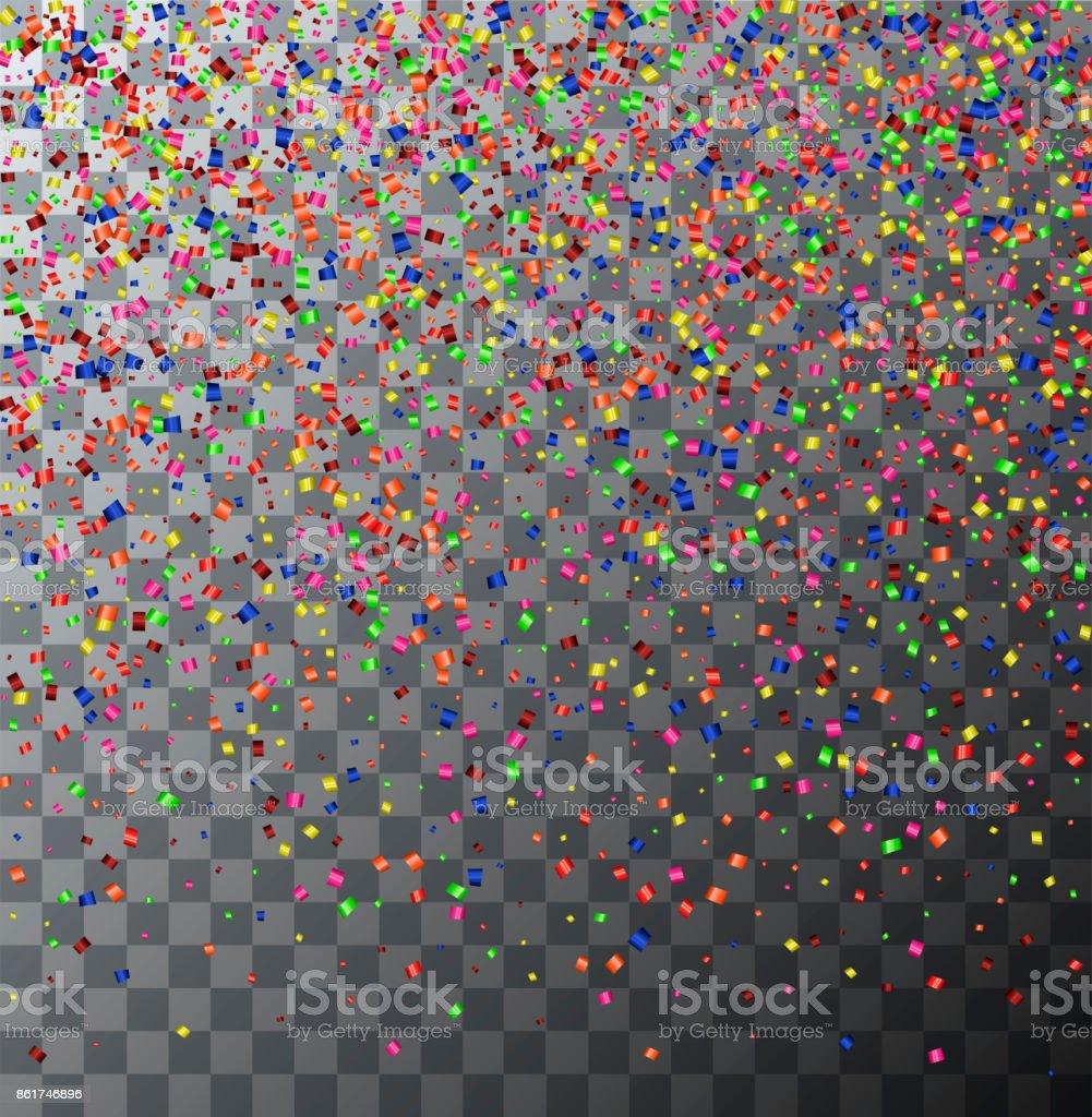 Vector modern festive confetti on transparent background vector art illustration