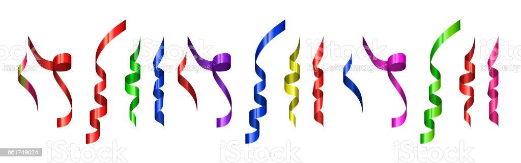 Vector modern festive confetti set on white background vector art illustration