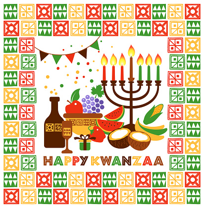 Vector modern flat concept design on Kwanzaa greeting card featuring Kinara candle holder with lit up candles. Happy Kwanzaa illustration with title.