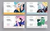 Vector modern flat design. Landing page template . Modern flat Floral vector illustration concept for business web page, website.