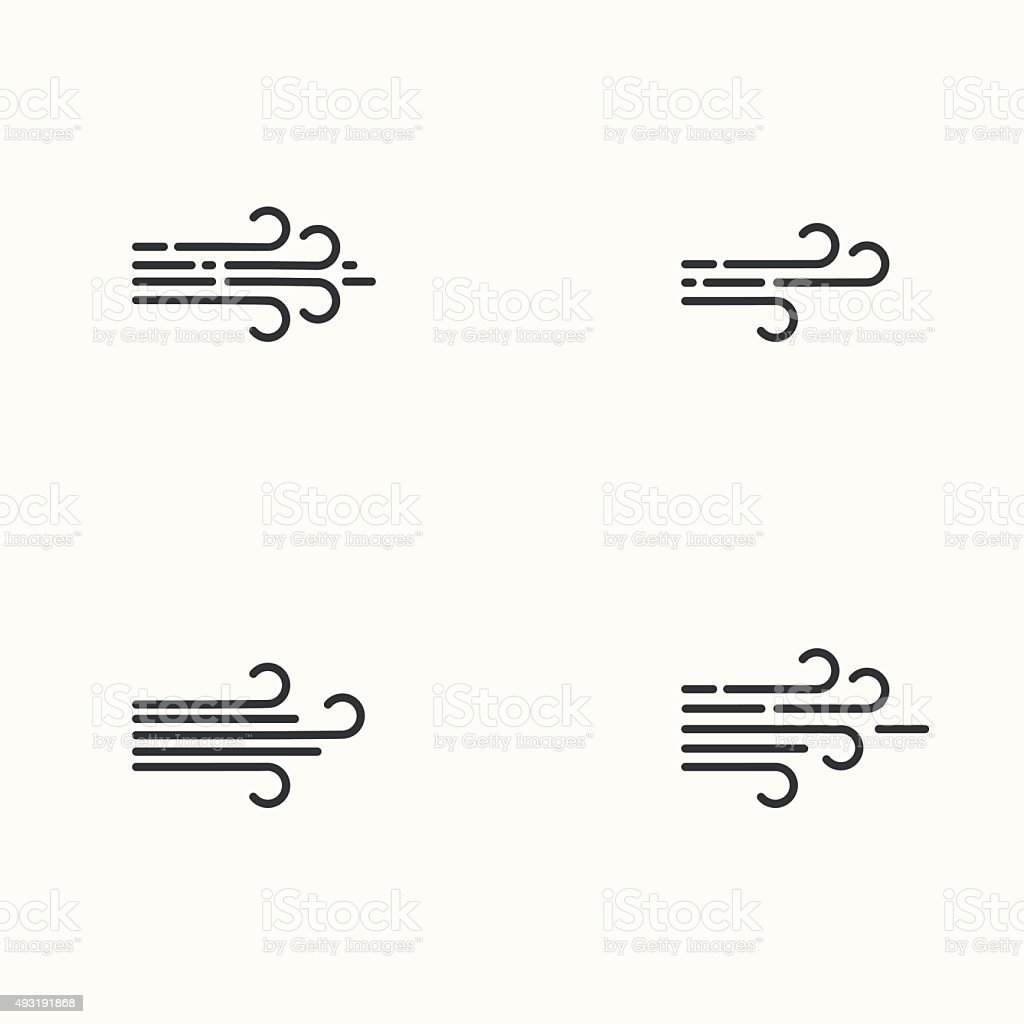 Vector modern flat design of wind icons set