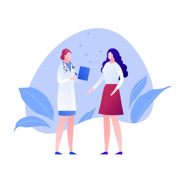 벡터 현대 평면 의사와 환자 캐릭터 그림입니다. 부인과, 배너, 포스터, 인포 그래픽, 병원, 클리닉에 대한 흰색 디자인 요소에 아메바 배경에 여성 메딕과 여성 - doctor stock illustrations