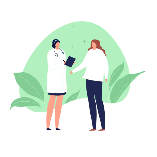 illustrazioni stock, clip art, cartoni animati e icone di tendenza di vector modern flat doctor and patient illustration. medic with stethoscope and female talk on green fluid shape with leaf isolated on white background. design element healthcare, medical clinic. - dottoressa