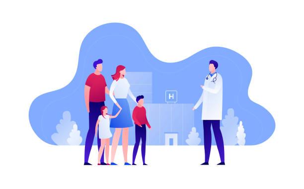 bildbanksillustrationer, clip art samt tecknat material och ikoner med vektor modern flat husläkare illustration. föräldrar med barn kvinnliga besökande sjukhus på landskaps byggnads bakgrund. design element för banner, affisch, klinik, infographics. - allmänläkare