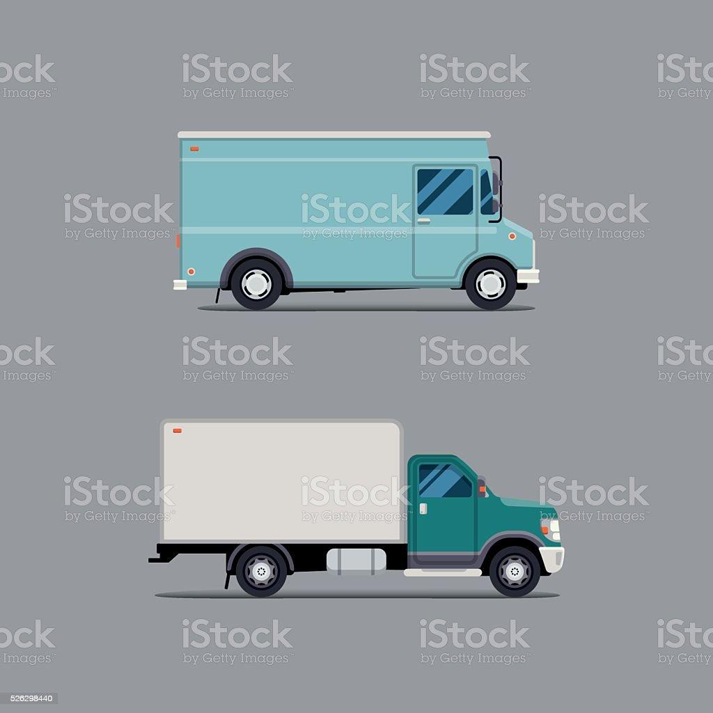 Современный Плоский векторные иллюстрации доставки Ван. Изолировать коммерческих транспортных средств. векторная иллюстрация
