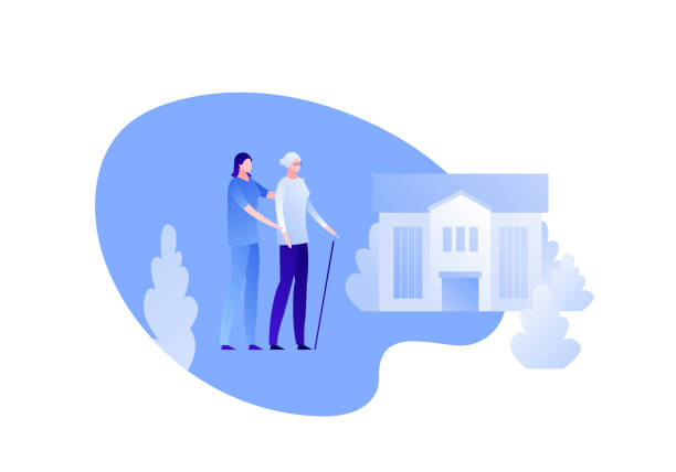 vector modern flat nursing house person illustration. couple of female elderly lady and carer on home building outdoor background on white. design character element for banner, poster. - проживание с уходом stock illustrations