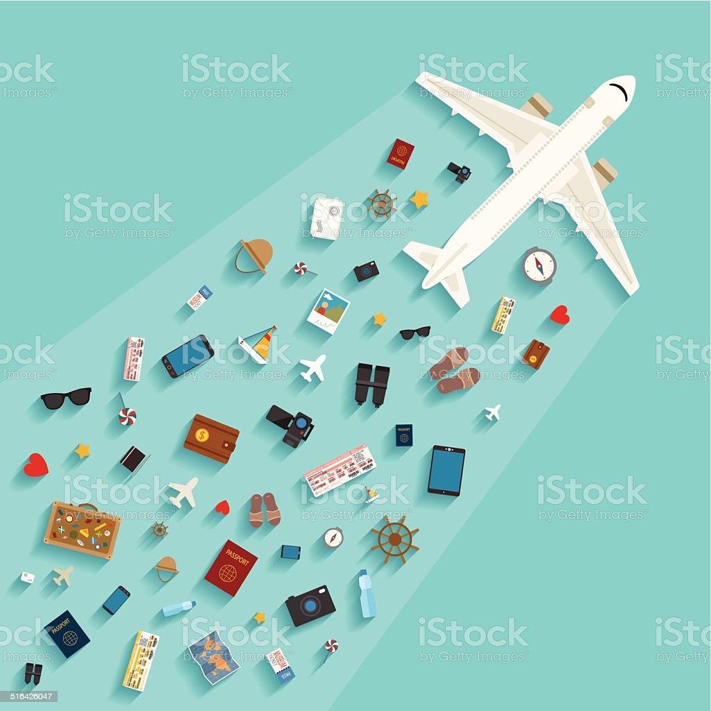 MODERNO ESTILO plano vectorial concepto para la industria del turismo. - ilustración de arte vectorial