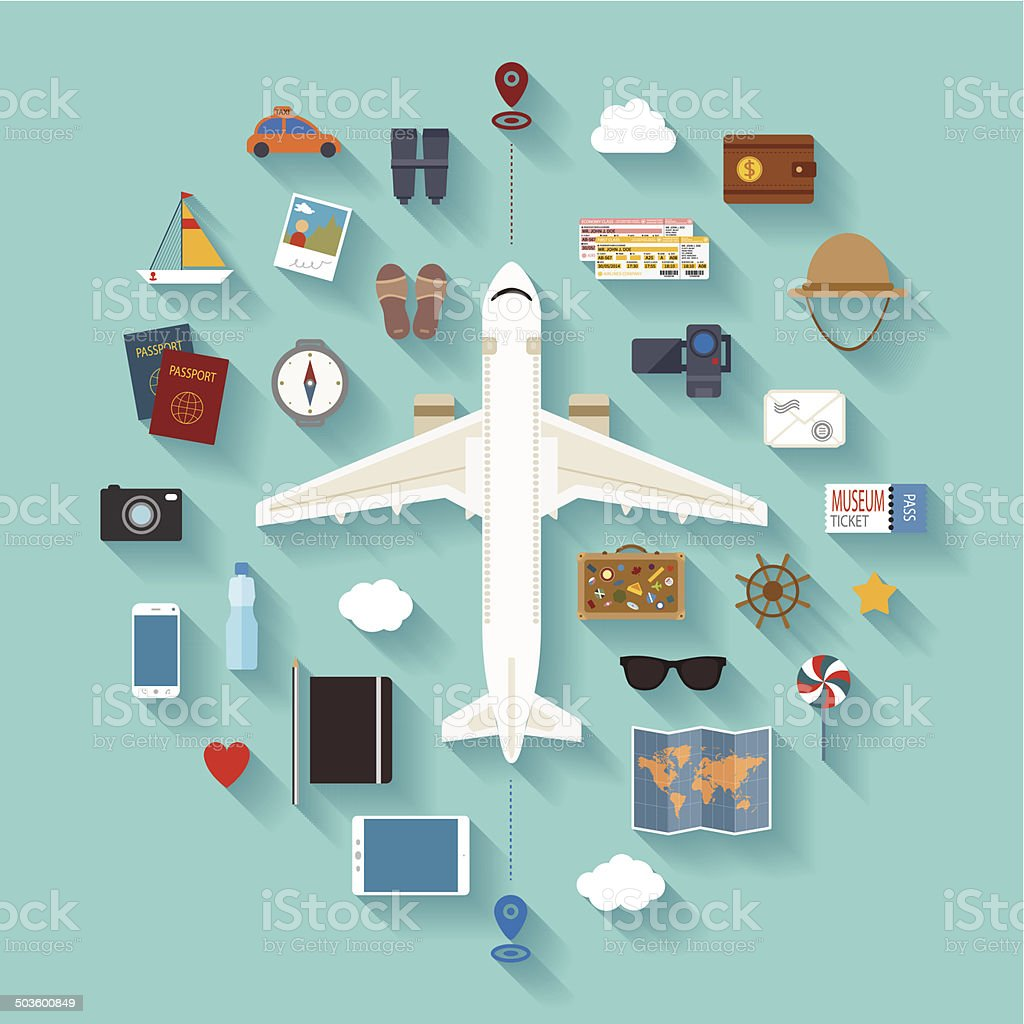 Vector modern flat style icons set for tourism industry. vector art illustration